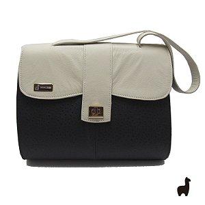 Bolsa Original Lhama em couro legítimo Creme e Preta 8PFQ29W2P