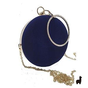 Bolsa Clutch em Metal e Camurça Azul 78UP8ZRGU