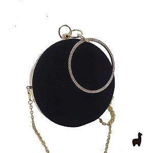 Bolsa Clutch em Metal e Camurça Preta 8L4L53WME