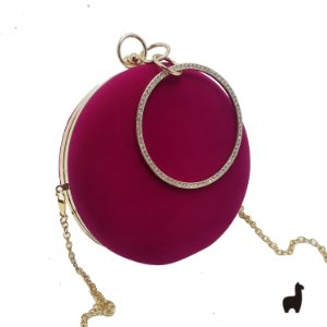 Bolsa Clutch em Metal e Camurça Pink 8HCPB5ZF9