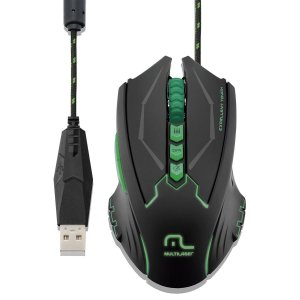 Mouse Gamer Metal War 8 Botões 2500dpi USB com LED - Multilaser MO218