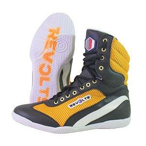 Bota Fitness Revolts - Pto/Bco/Amarelo SU9030