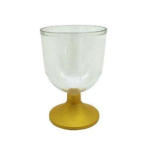 Taça de Acrílico com Base Dourada Kit com 10 unidades