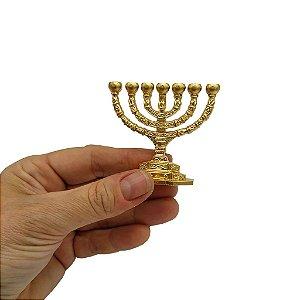 Menorah Miniatura de Plástico Dourado