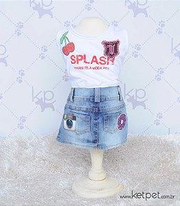 T-shirt com Minissaia Jeans Maristela
