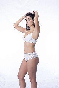Calcinha cintura alta de algodão 100% com lateral em renda