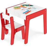 Mesa - Com Cadeira Infantil - Vermelha