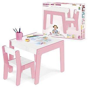 Mesa - Com Cadeira Infantil - Rosa