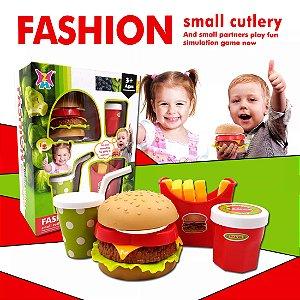 Kit - Cozinha Infantil -Montando o Hamburguer - Fast Food + Acessorios