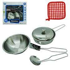 Kit Cozinha - Inox - Frigideira + Descanso + Utensilhos
