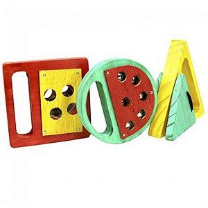 Conjunto Percussão Baby- Geométrica-Madeira-JogVibratom
