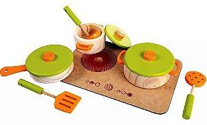 Coleção Comidinhas Cjt Panelas c/utensílios e base fogão -7pç
