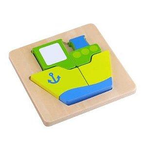 Quebra cabeça- Tabuleiro Navio - Madeira- Tooky Toy