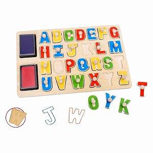 Carimbo Alfabeto de madeira