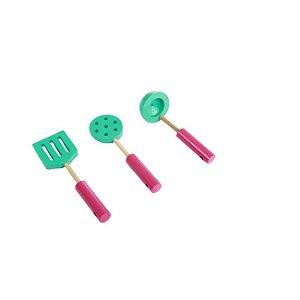 Coleção Comidinha - Cjt Utensílio de Cozinheiro - 3pç