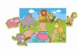 Jogo Quebra – Cabeça Animais e seus Filhotes – Meu Primeiro Quebra-cabeça com Pinos com 4 peças – ABC Brinquedos