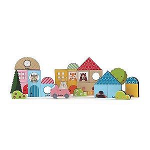 Jogo de Construir – Baby Construtor – Blocos de Madeira Multicolorido 36 peças – Brinquedos Babebi