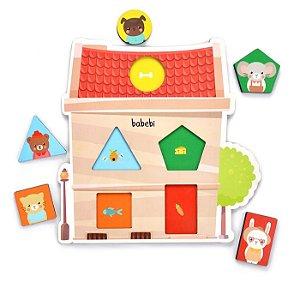 Jogo Quebra – Cabeça Cores e Formas – Brinquedo 1 ano - Quebra-cabeça de Encaixe 5 peças – BABEBI
