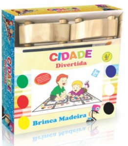 Pinta E Brinca Cidade Divertida Carrinhos-Madeira-BateBumbo