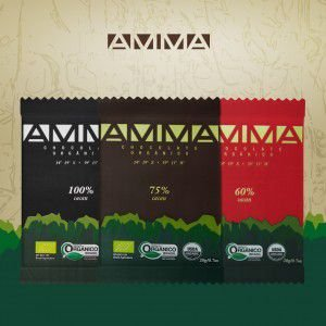 3 Chocolates Amma 60% 75% 100% Cacau 20g