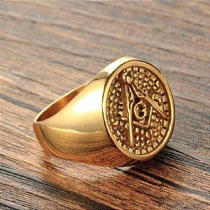 Anel Esquadro e Compasso Dourado