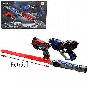Pistola Dupla com Sabre de Luz Space Weapon