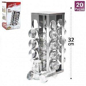 Porta Tempero de Vidro com Suporte Inox p/ 20 pç Quadrado