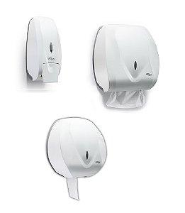 Kit Dispenser Saboneteira + Papel Toalha Interfolhas + Papel Higiênico Rolo Velox Premisse
