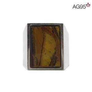 Anel Retangular Pedra Olho de Tigre 13x18