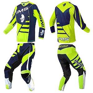 Conjunto: kit calça + camisa IMS Power 2018 - neon / azul
