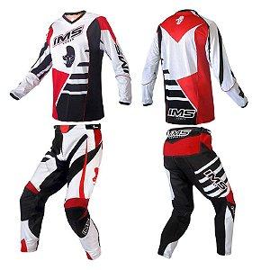 Conjunto: kit calça + camisa IMS Power 2018 - branco / vermelho