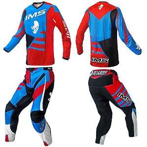 Conjunto: kit calça + camisa IMS Power 2018 - azul / vermelho