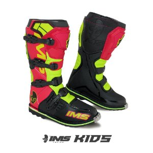 Bota infantil motocross IMS Light vermelha / neon