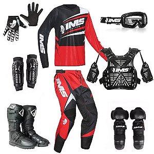 Kit trilha motocross IMS Flex vermelho: 8 peças