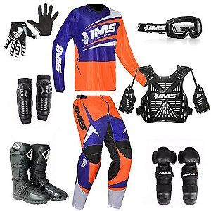 Kit trilha motocross IMS Flex azul e laranja: 8 peças