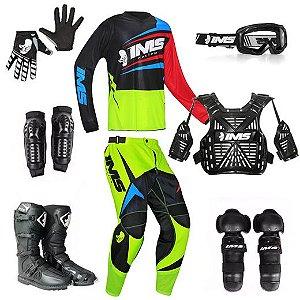 Kit trilha motocross IMS Flex neon: 8 peças