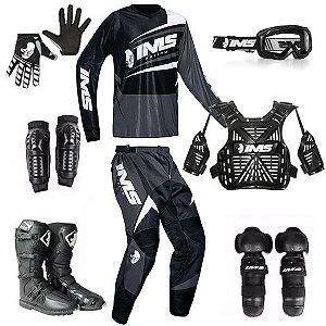 Kit trilha motocross IMS Flex cinza: 8 peças