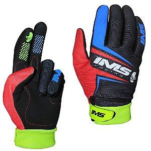 Luvas para moto ou bike IMS Flex preta vermelha neon
