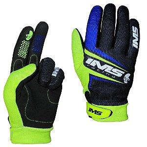 Luvas para moto ou bike IMS Flex preta azul neon
