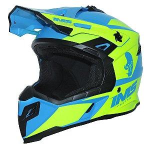 Capacete Off-road Ims Sprint Neon / Azul