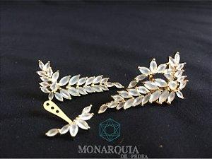 Ear cuff ramo banho ouro cristais brancos