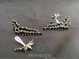 Ear cuff ramo banho ouro branco cristais preto
