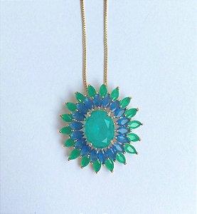 Colar banho ouro sol zirconias verdes e azuis