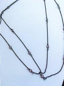 colar tiffany rosa banho ródio negro