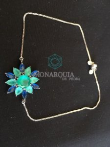 Pulseira flor banho ouro branco cristais azul