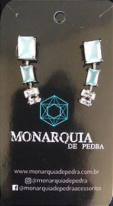 Brinco quadrado curvado cristal azul e zirconias