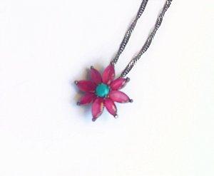 colar cristal rubi flor 45 cm banho ródio negro