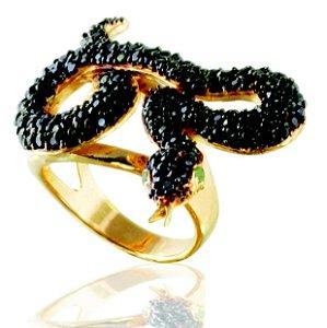anel cobra zirconia negra-aro 18