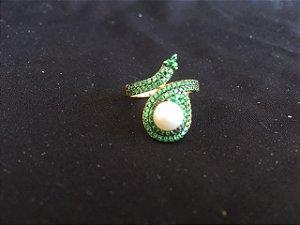 anel perola zirconia verde banho Ouro - aro 18
