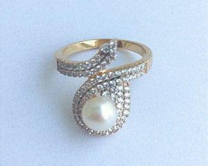 anel perola zirconia banho ouro- aro21